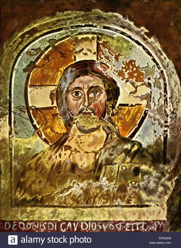 fresco-depicting-jesus-with-a-cruciform-halo-early-christian-fresco-ERG2G5