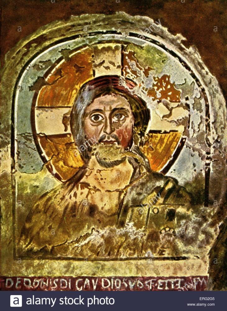 fresco-depicting-jesus-with-a-cruciform-halo-early-christian-fresco-ERG2G5