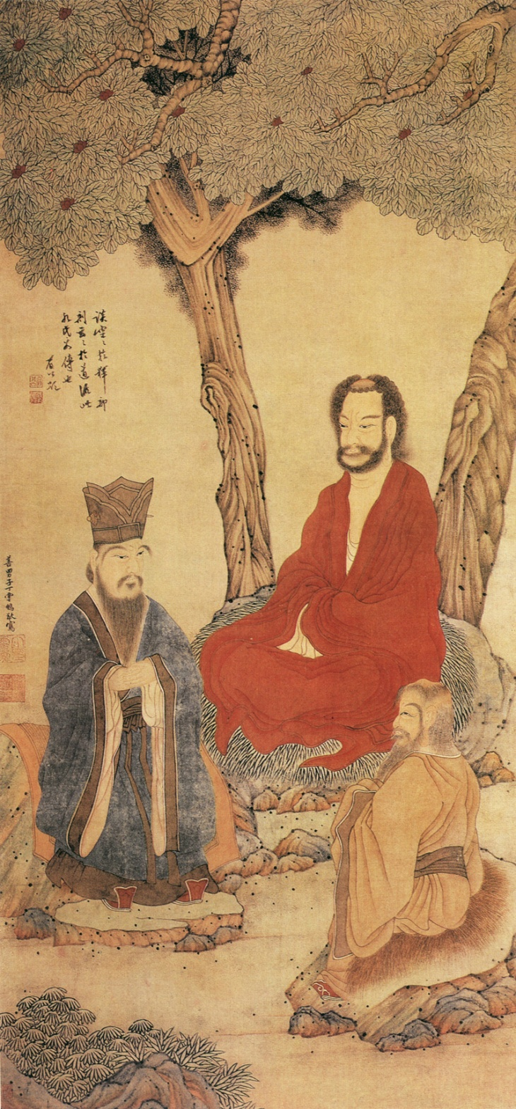 Confucius_Lao-tzu_and_Buddhist_Arhat_by_Ding_Yunpeng